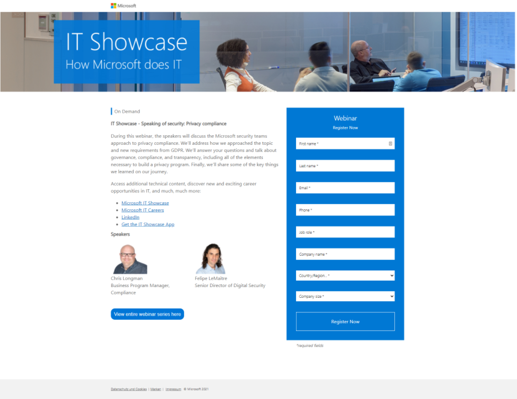 IT showcase ( Landing Page example )