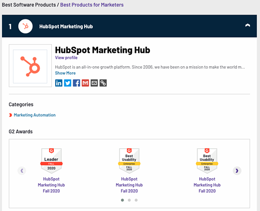 hubspot best product for marketer