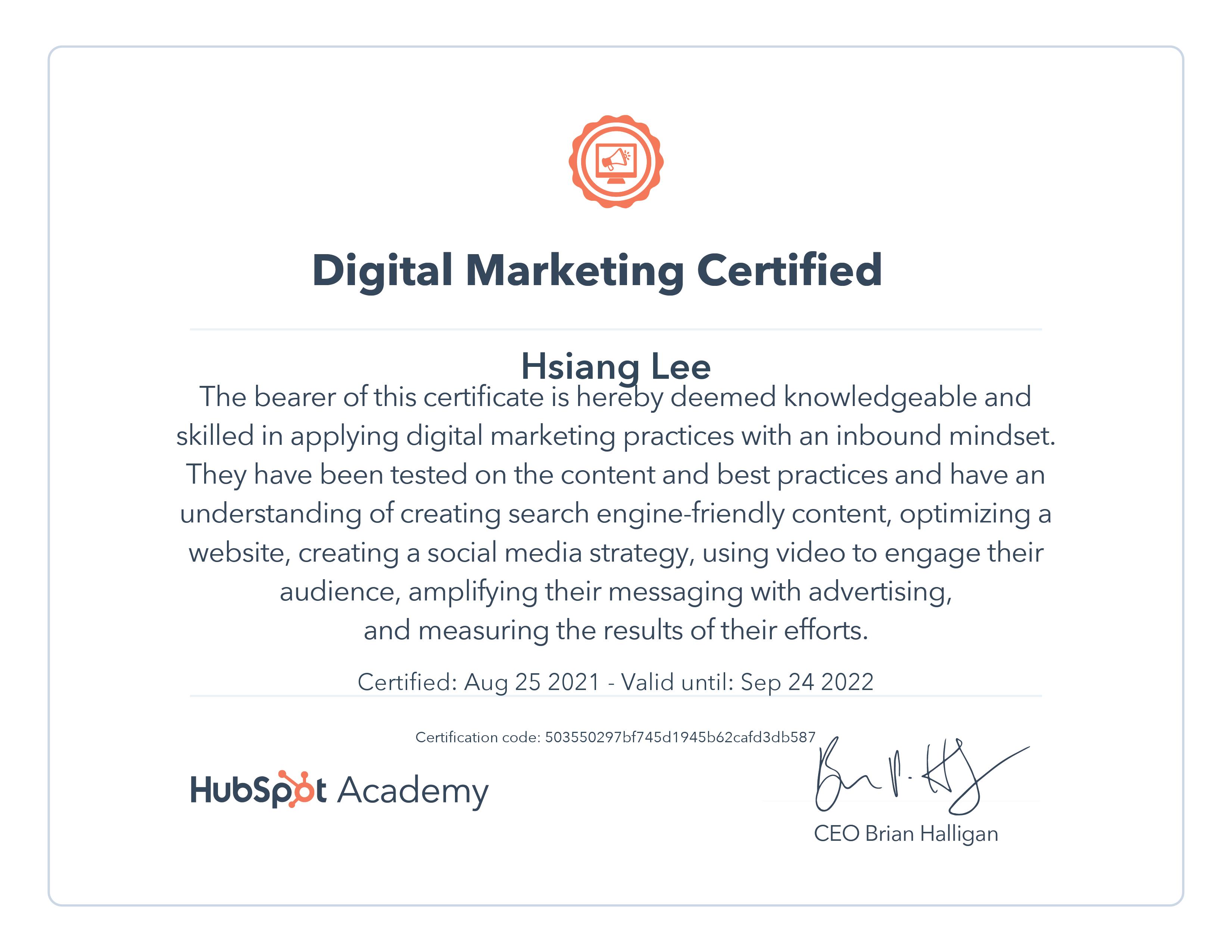 hubspot digital marketing certified